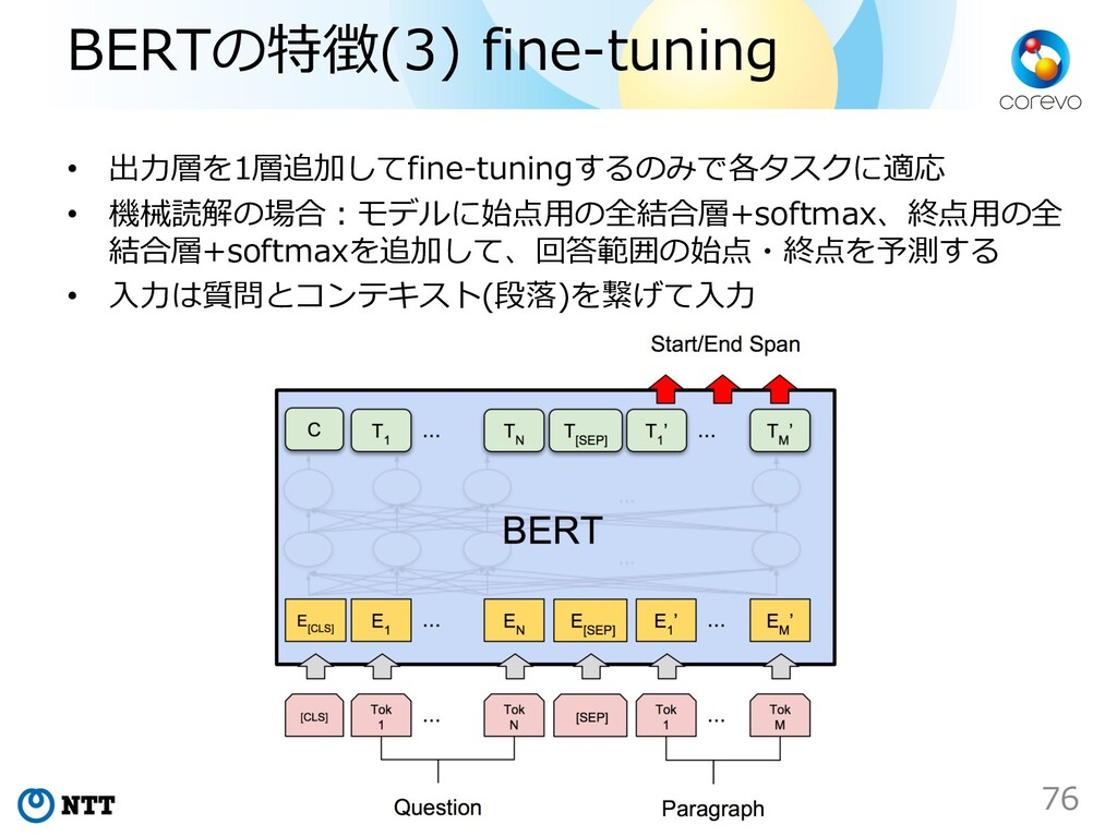 BERTの特徴(3) fine-tuning • 出⼒層を1層追加してfine-tuningす...