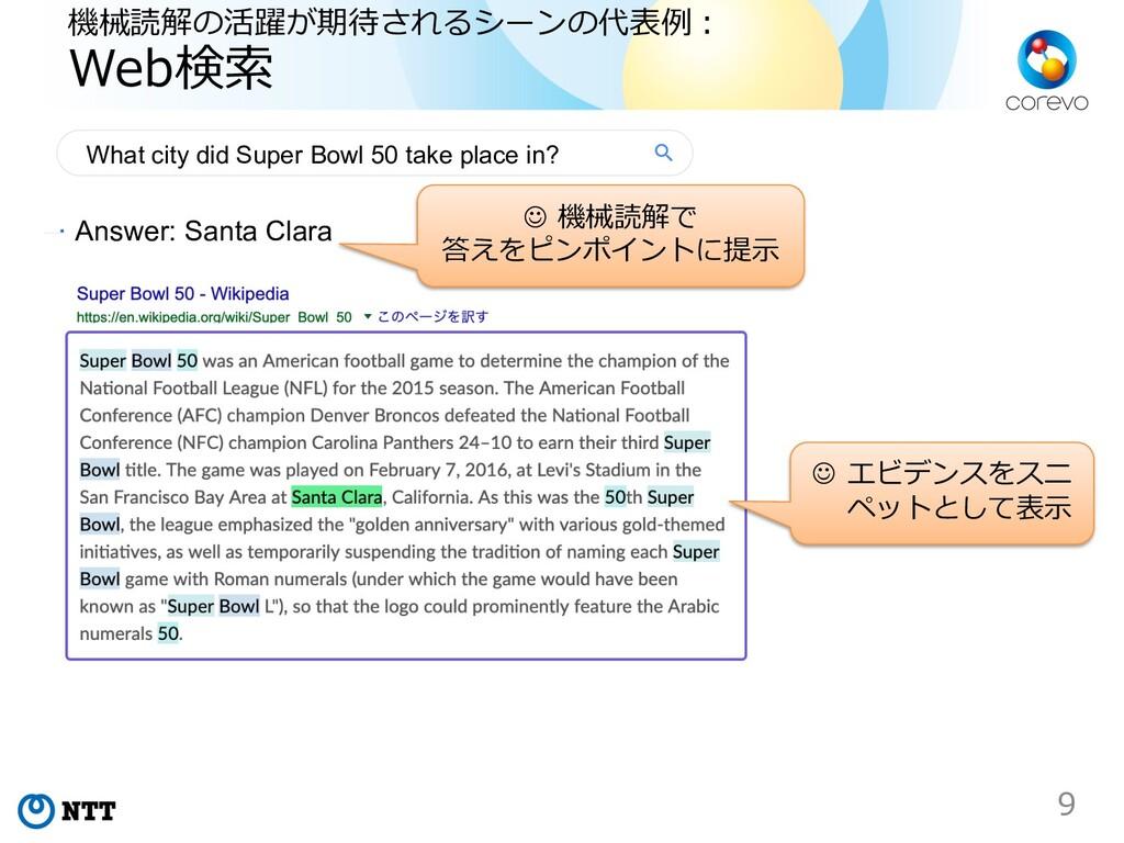 機械読解の活躍が期待されるシーンの代表例︓ Web検索 9 Answer: Santa Cla...