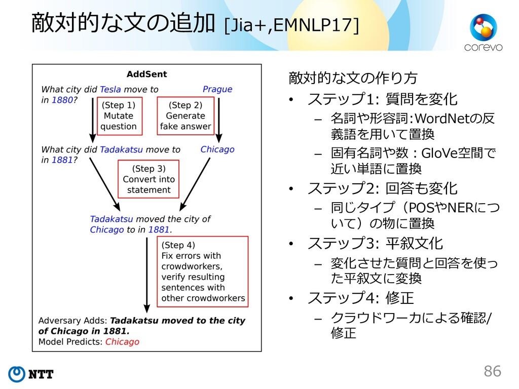 敵対的な⽂の追加 [Jia+,EMNLP17] 敵対的な⽂の作り⽅ • ステップ1: 質問を変...