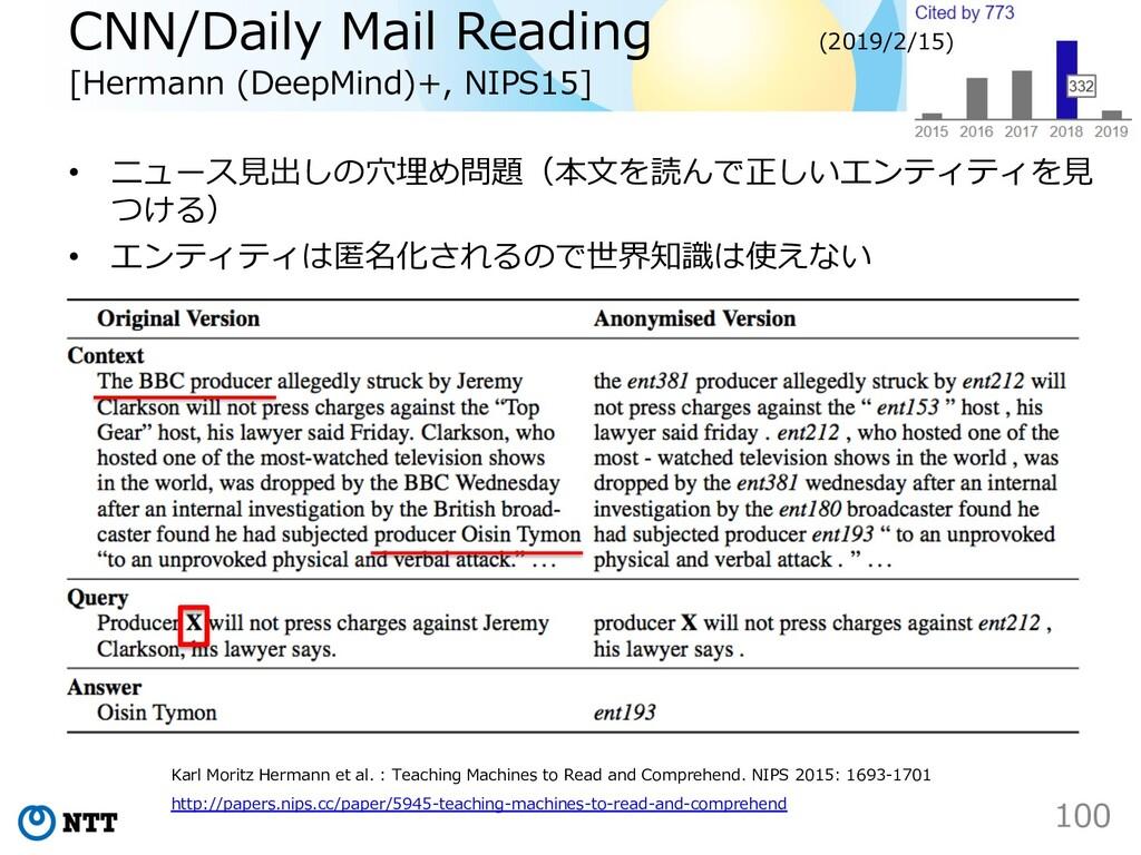 CNN/Daily Mail Reading [Hermann (DeepMind)+, NI...
