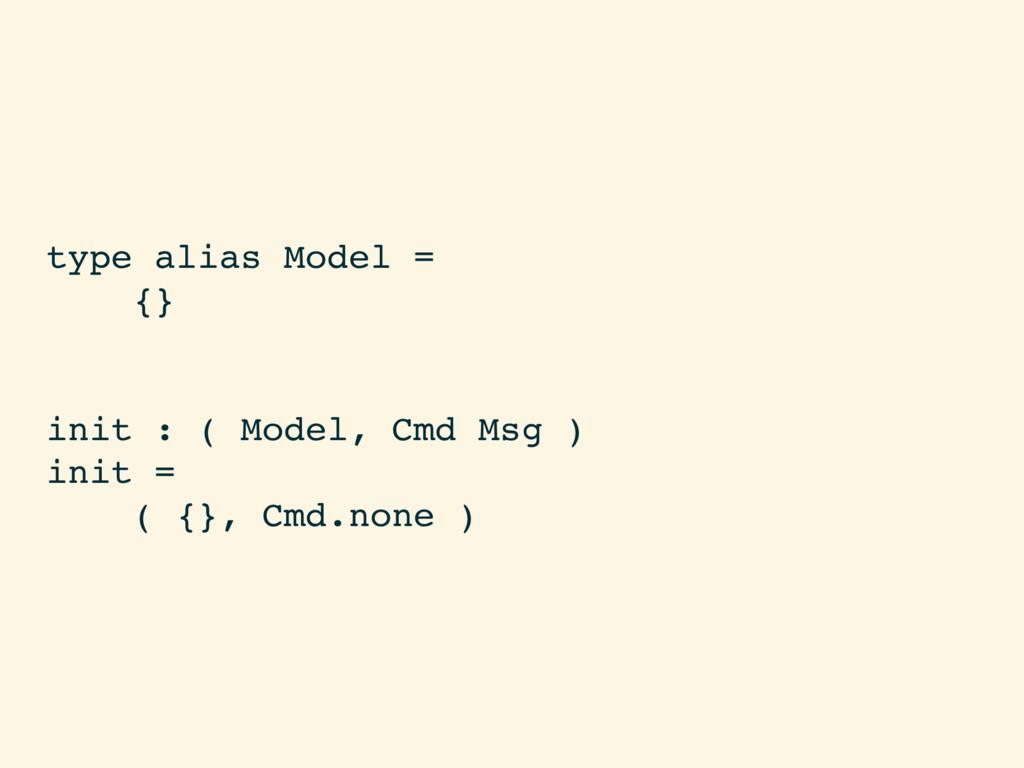 type alias Model = {} init : ( Model, Cmd Msg )...