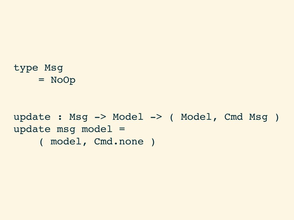 type Msg = NoOp update : Msg -> Model -> ( Mode...