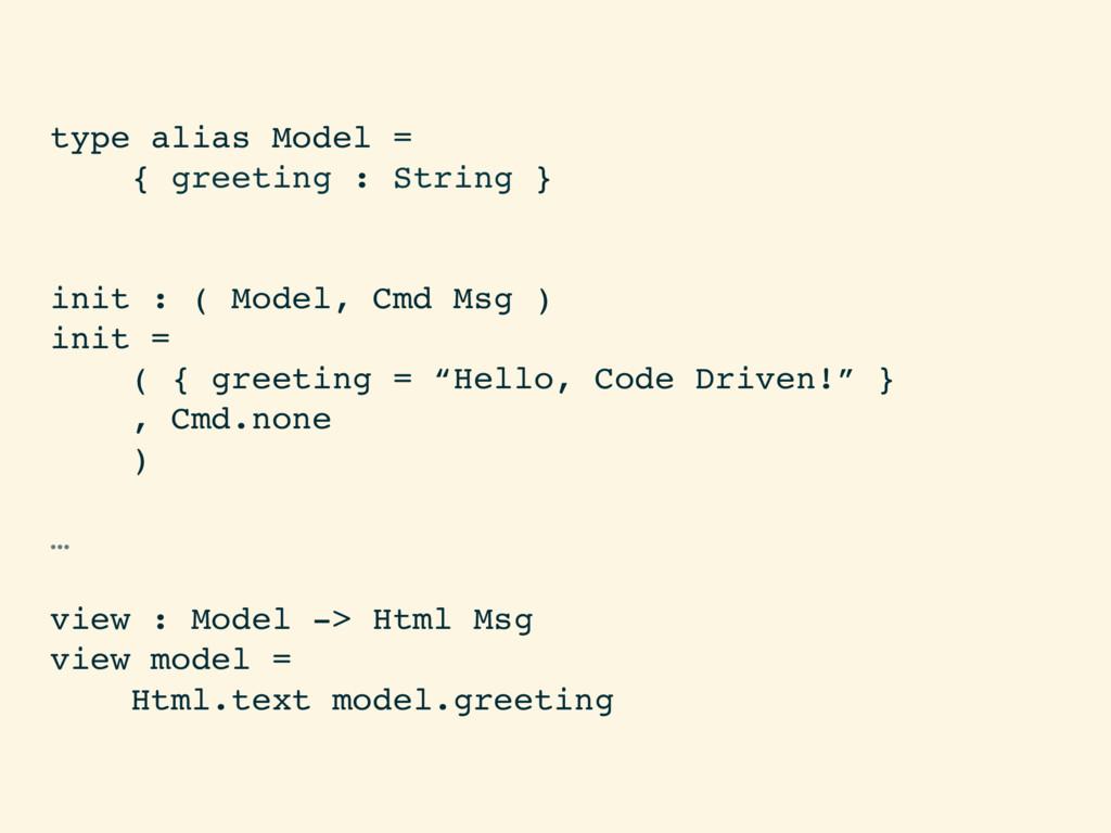 type alias Model = { greeting : String } init :...