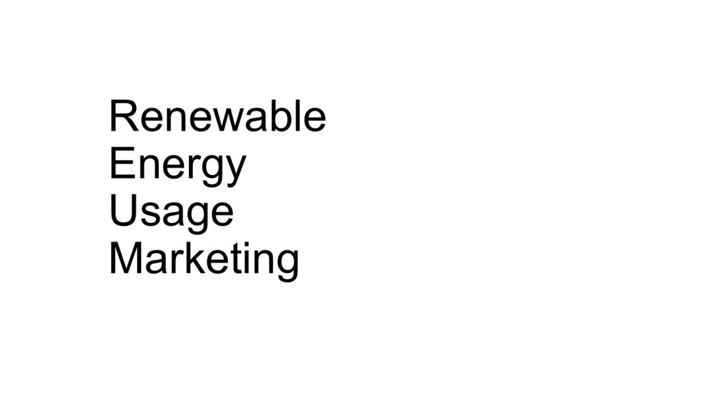 Renewable Energy Usage Marketing