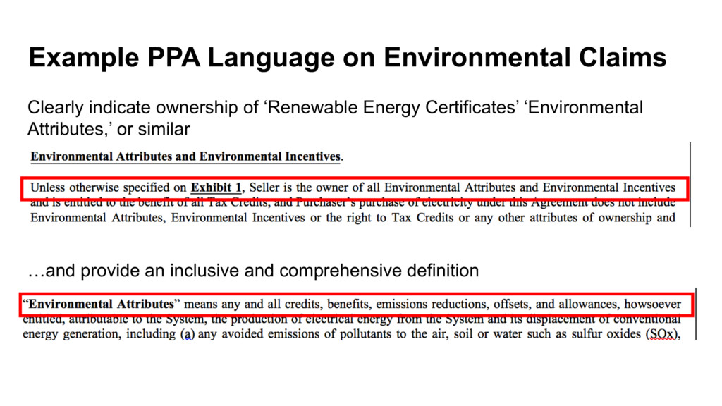 Example PPA Language on Environmental Claims Cl...