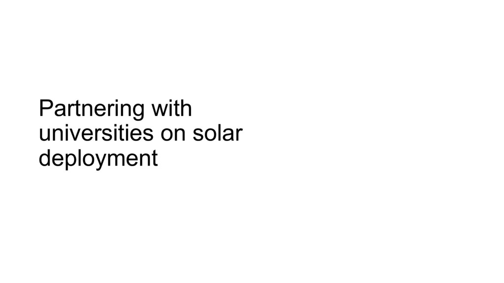 Partnering with universities on solar deployment