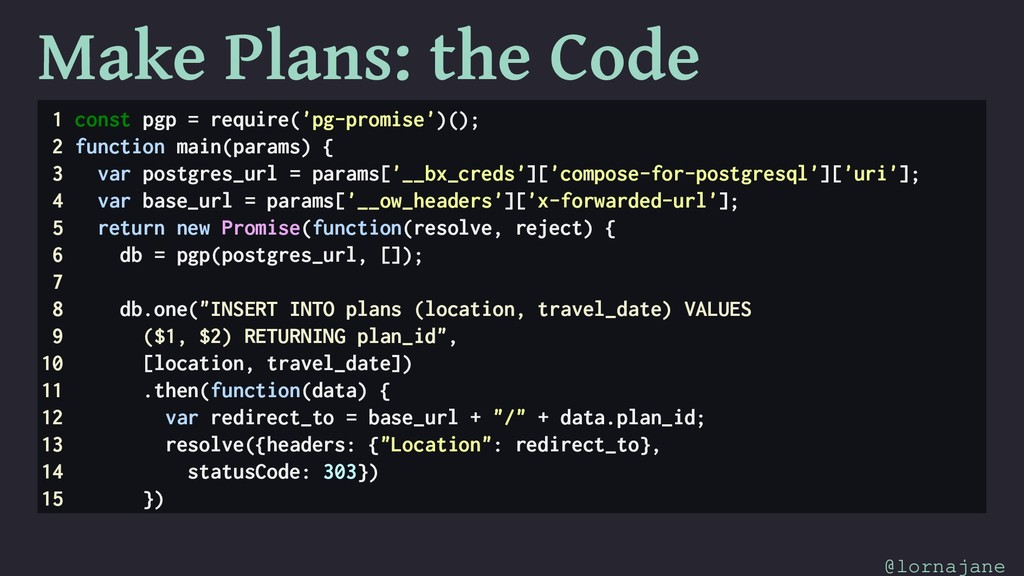 Make Plans: the Code 1 const pgp = require('pg-...