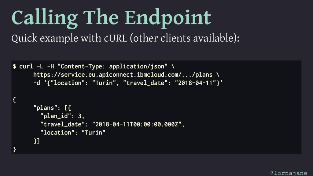 Calling The Endpoint Quick example with cURL (o...