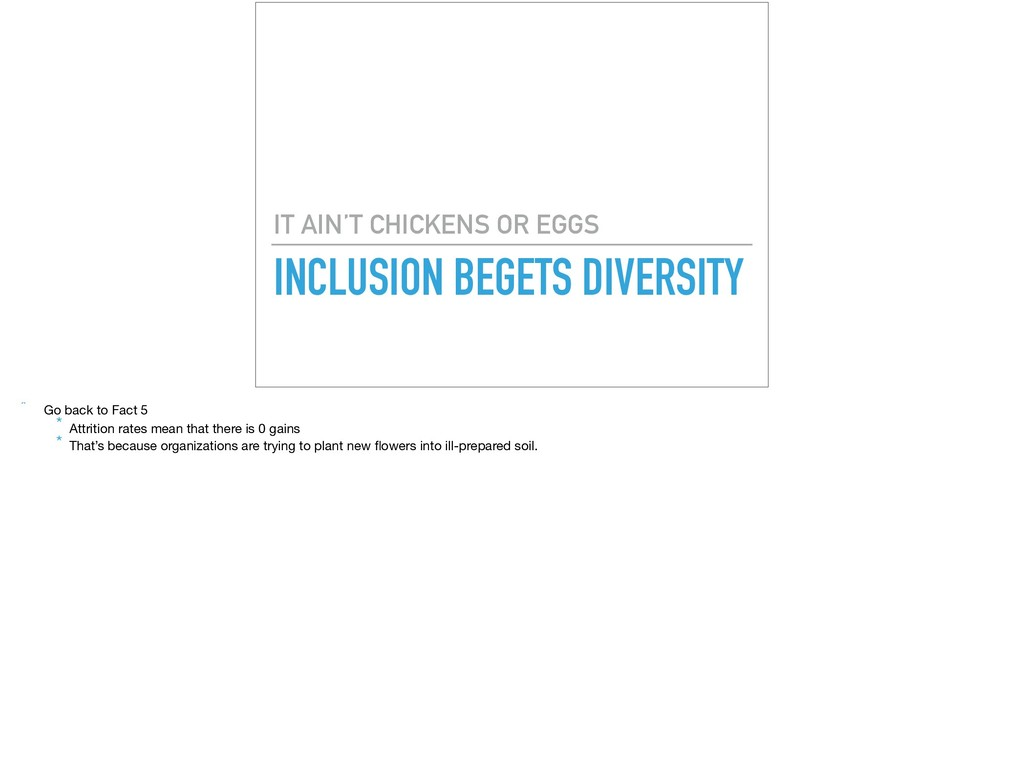 INCLUSION BEGETS DIVERSITY IT AIN'T CHICKENS OR...