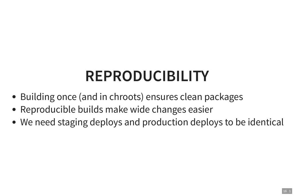 REPRODUCIBILITY REPRODUCIBILITY Building once (...