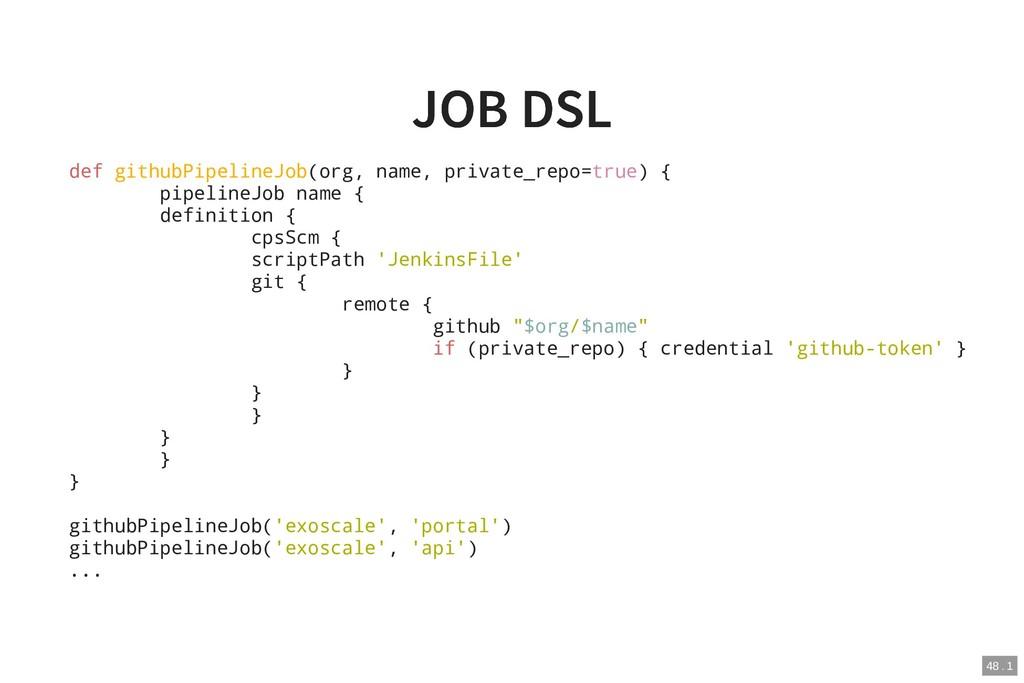 JOB DSL JOB DSL def githubPipelineJob(org, name...