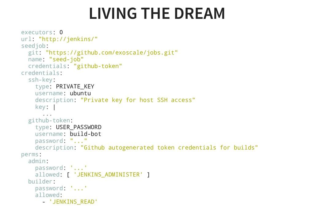 LIVING THE DREAM LIVING THE DREAM executors: 0 ...
