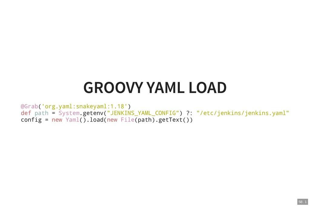 GROOVY YAML LOAD GROOVY YAML LOAD @Grab('org.ya...