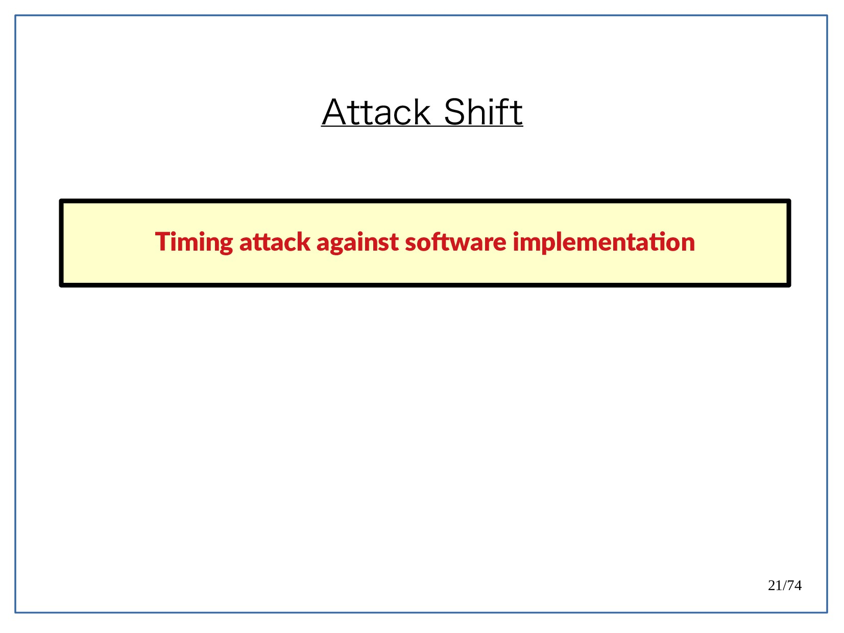 21/74 Attack Shift Timing atack against sofwaet...