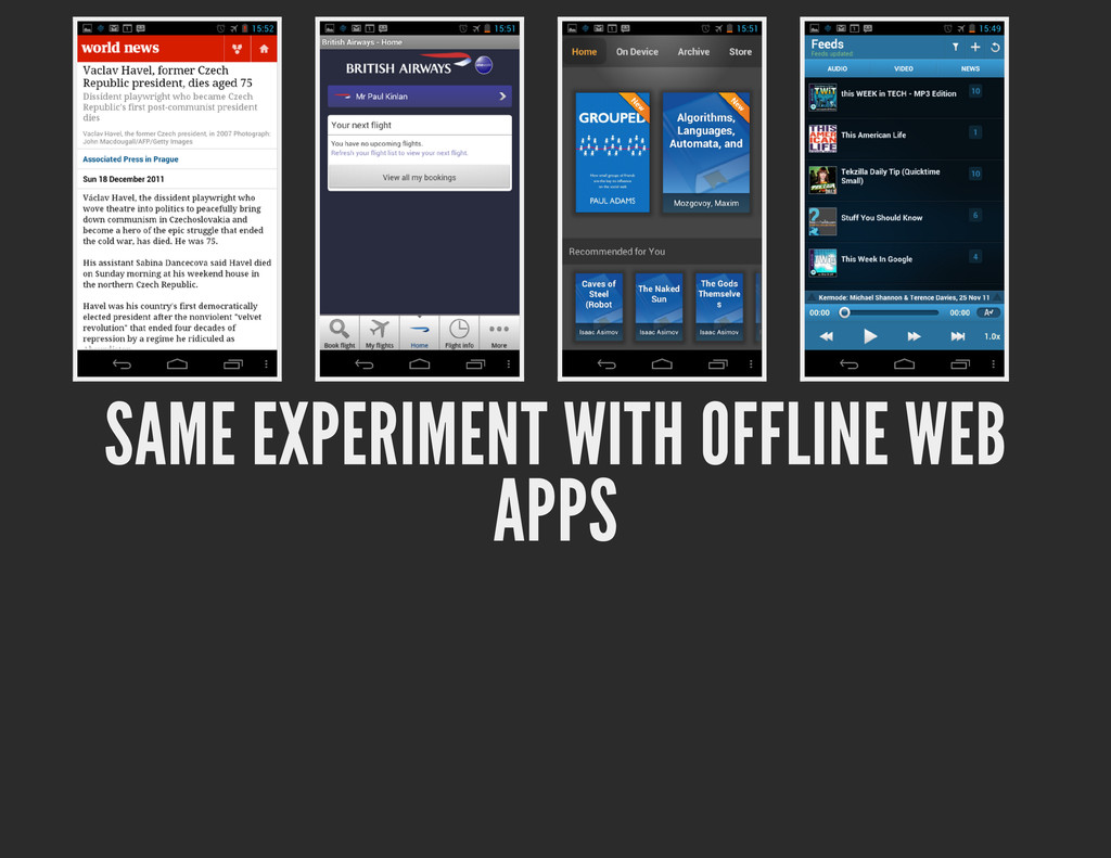 SAME EXPERIMENT WITH OFFLINE WEB APPS