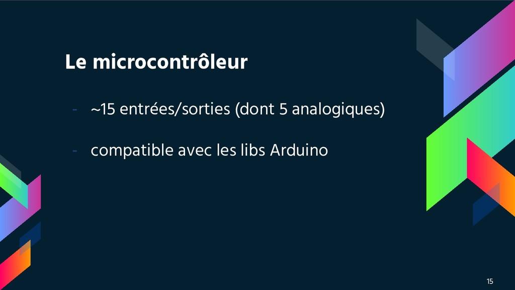 Le microcontrôleur - ~15 entrées/sorties (dont ...