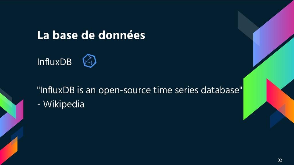 """La base de données InfluxDB """"InfluxDB is an open-..."""