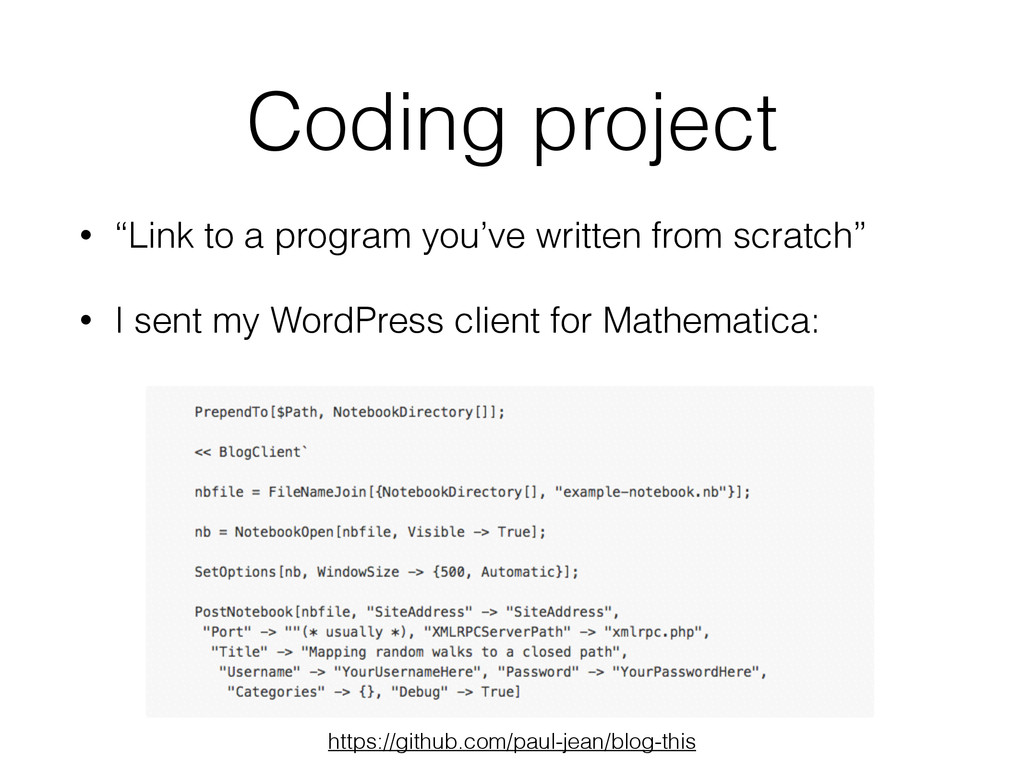 "Coding project • ""Link to a program you've writ..."
