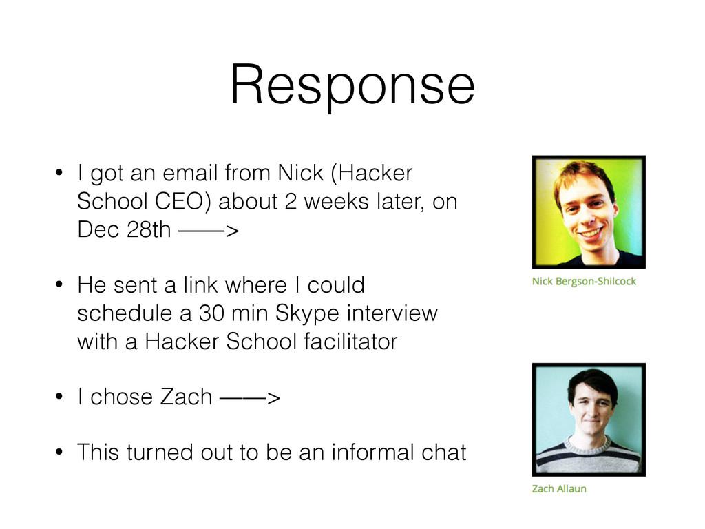 Response • I got an email from Nick (Hacker Sch...