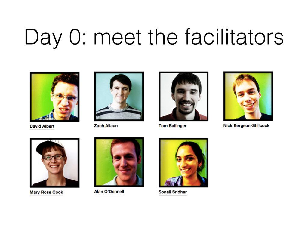 Day 0: meet the facilitators