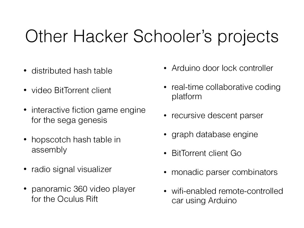 Other Hacker Schooler's projects • distributed ...