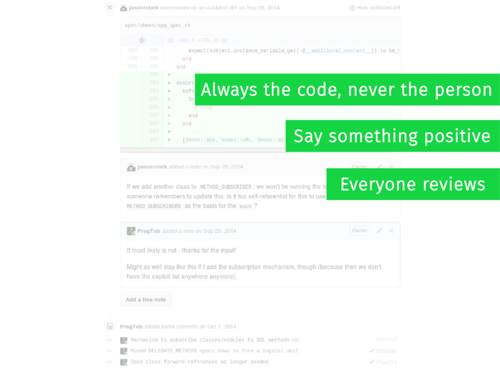 Always the code, never the person Say something...