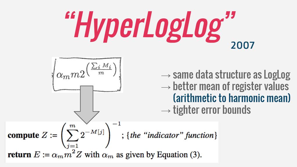 """HyperLogLog"" 2007 → same data structure as Log..."