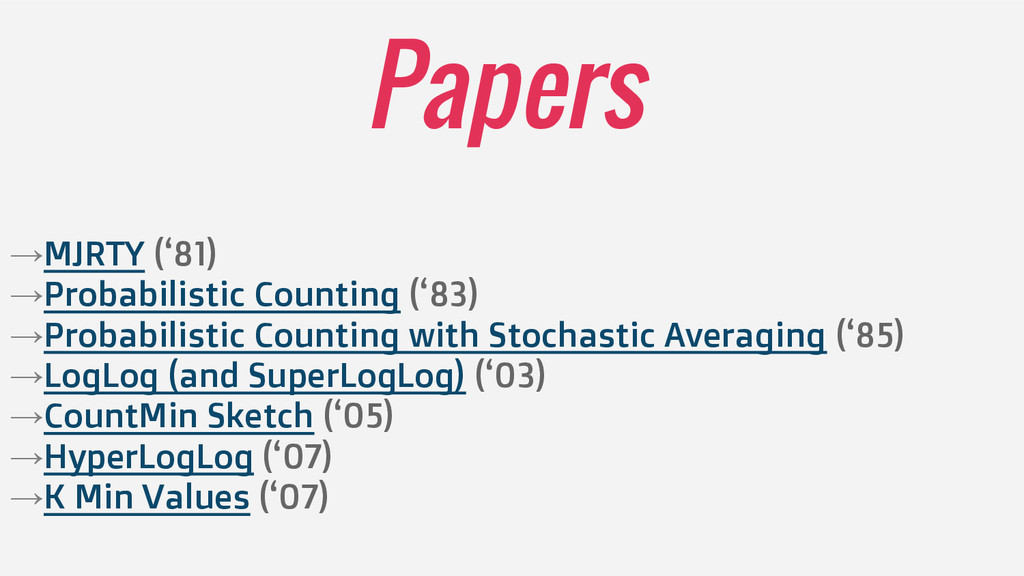 Papers →MJRTY ('81) →Probabilistic Counting ('8...