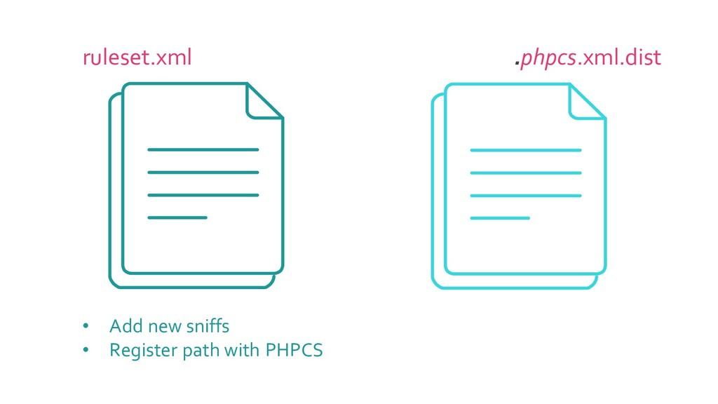 ruleset.xml .phpcs.xml.dist • Add new sniffs • ...