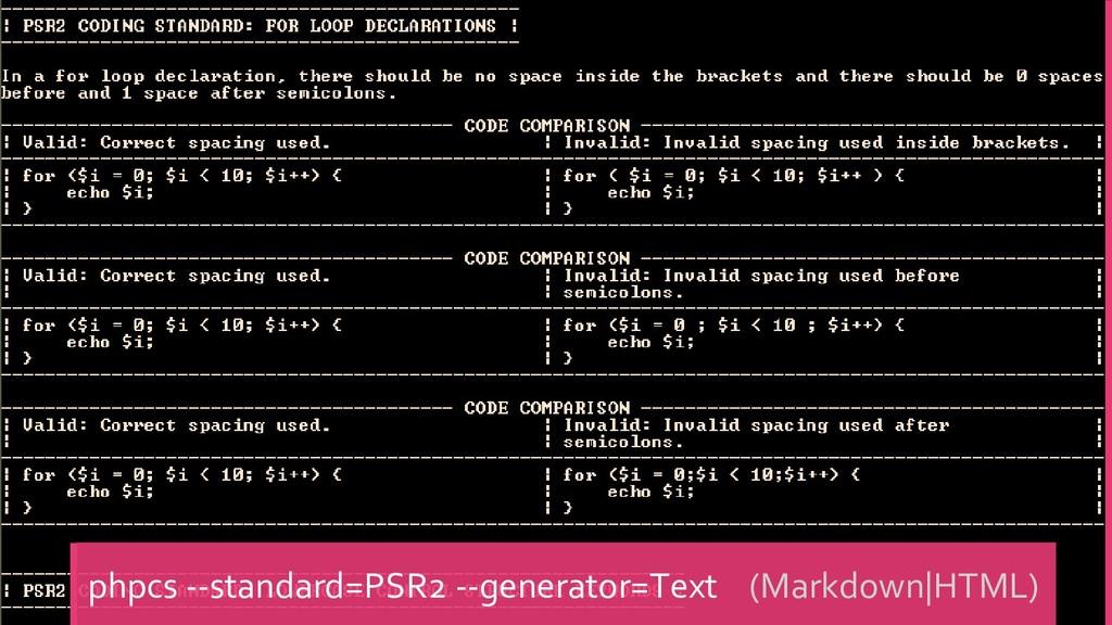 phpcs --standard=PSR2 --generator=Text (Markdow...