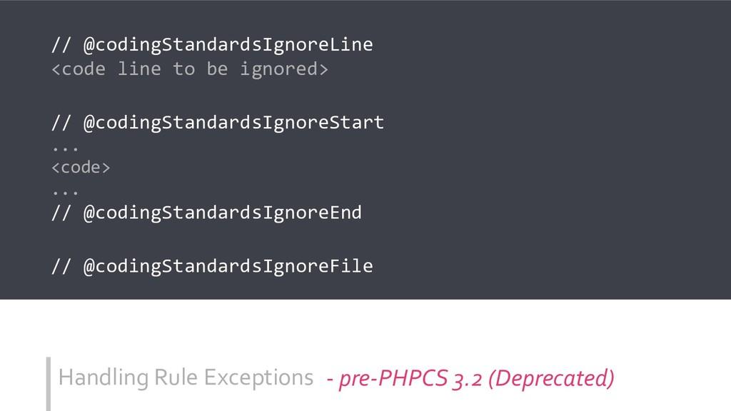 Handling Rule Exceptions // @codingStandardsIgn...