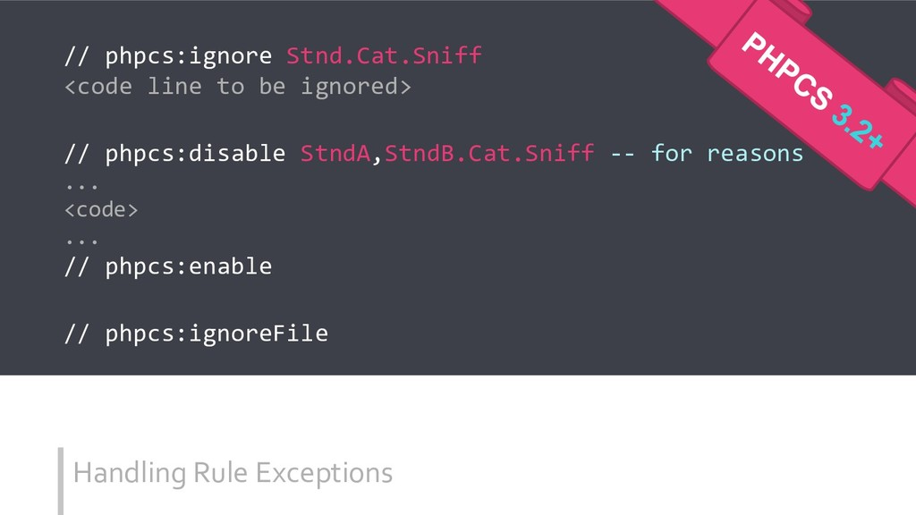 Handling Rule Exceptions // phpcs:ignore Stnd.C...