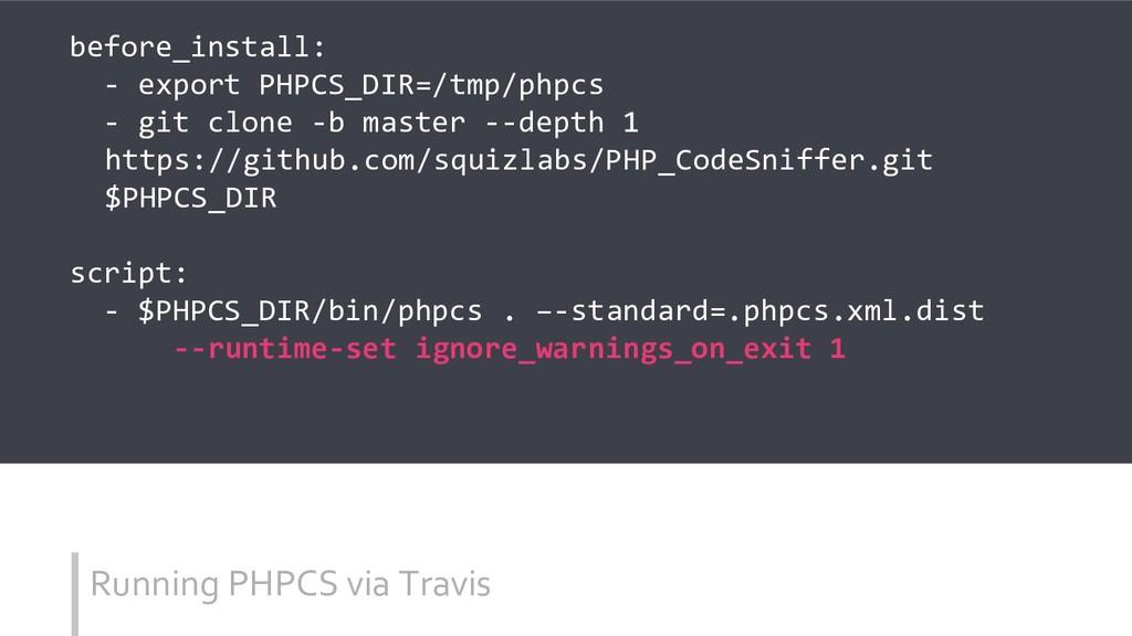 Running PHPCS via Travis before_install: - expo...