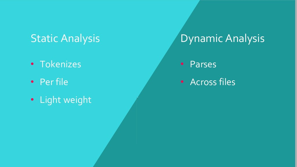 Static Analysis • Tokenizes • Per file • Light ...