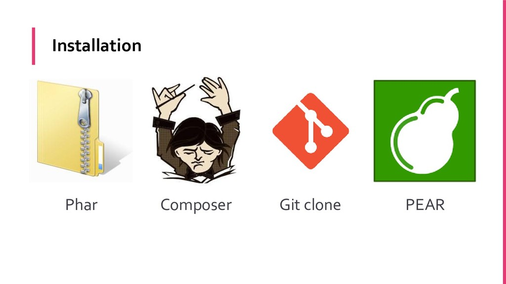 Phar Composer Git clone PEAR Installation