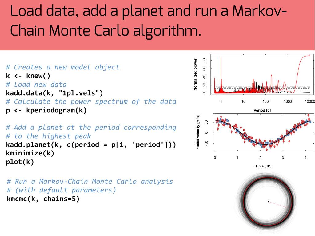 Load data, add a planet and run a Markov- Chain...