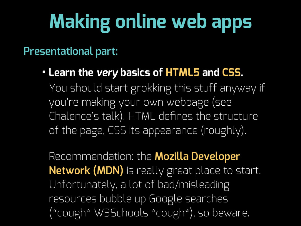 Making online web apps • Learn the very basics ...