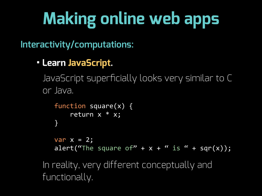 Making online web apps • Learn JavaScript. Inte...