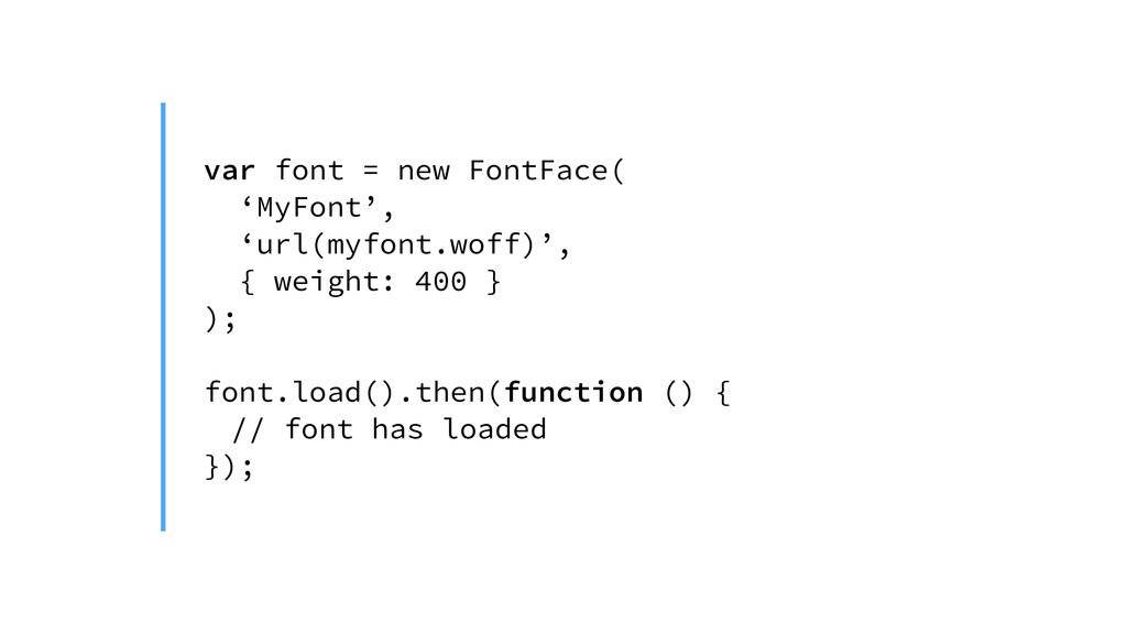 var font = new FontFace( 'MyFont', 'url(myfont....