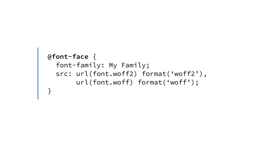 @font-face { font-family: My Family; src: url(f...