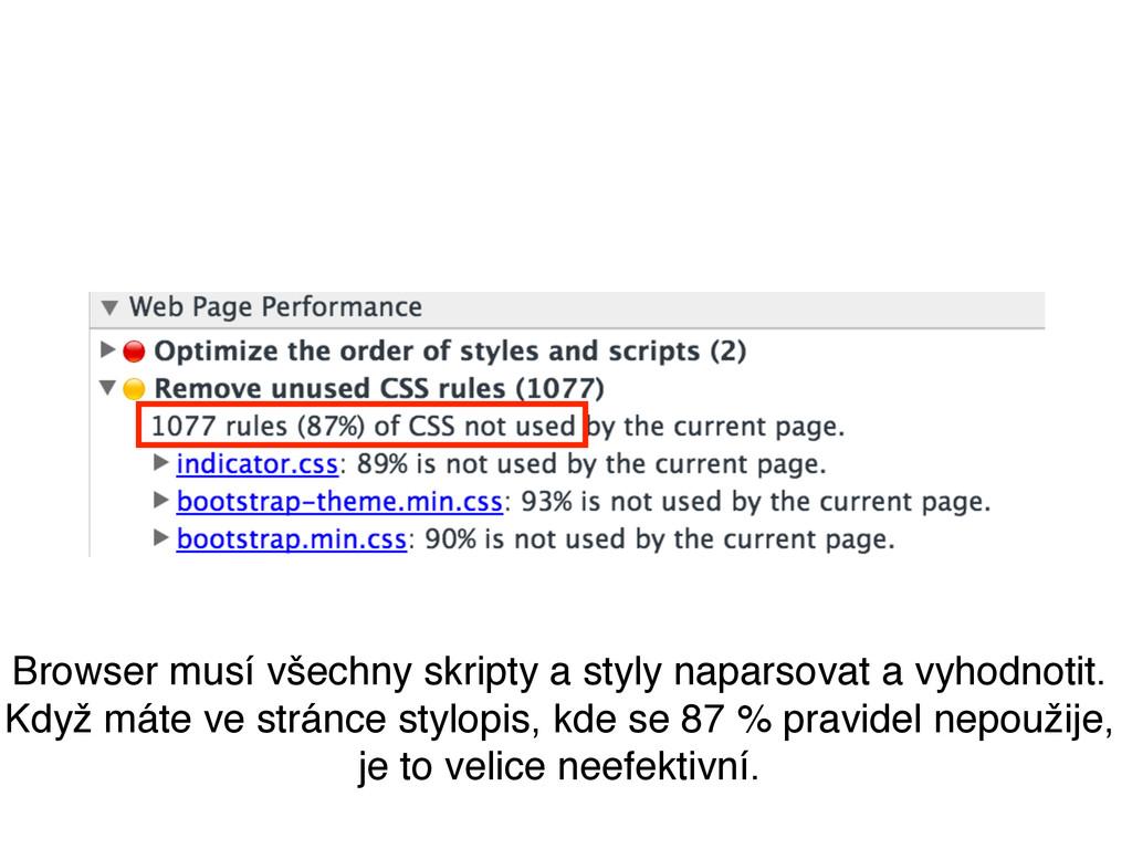 Browser musí všechny skripty a styly naparsovat...