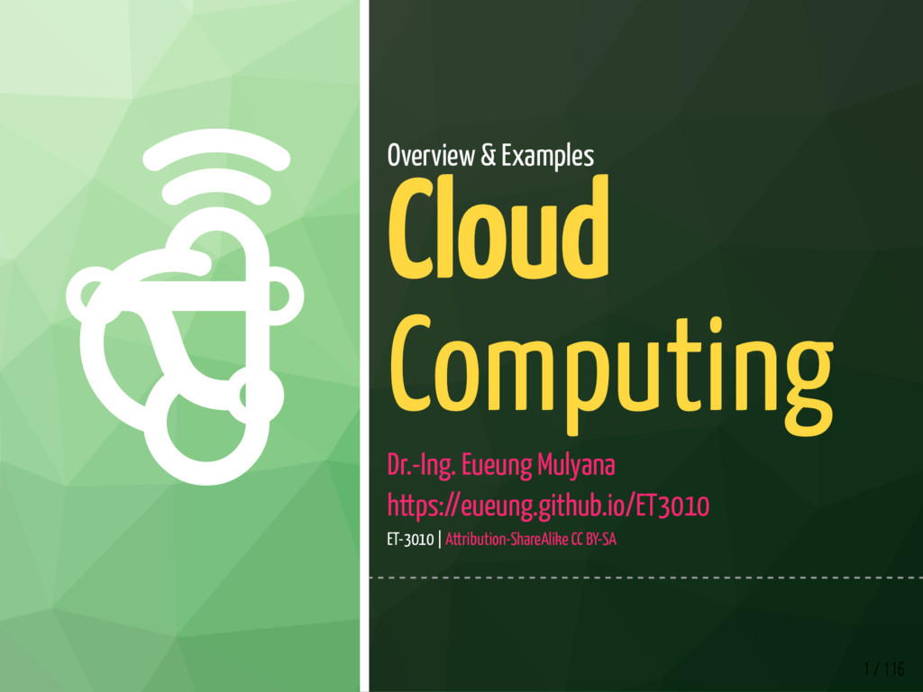  1 / 116 Overview & Examples Cloud Computing...