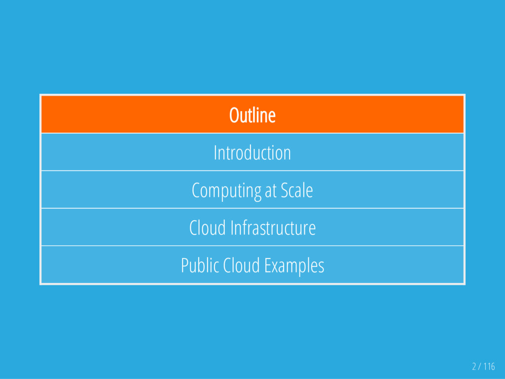 Outline Introduction Computing at Scale Cloud I...