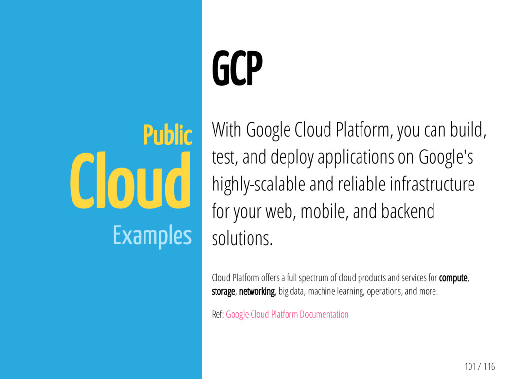 101 / 116 Public Cloud Examples GCP With Google...