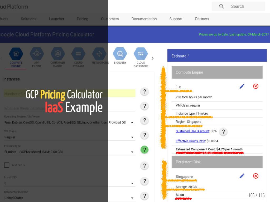 105 / 116 GCP Pricing Calculator IaaS Example