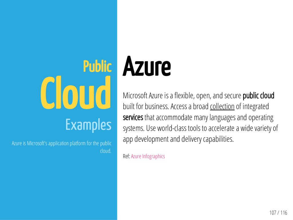 107 / 116 Public Cloud Examples Azure is Micros...
