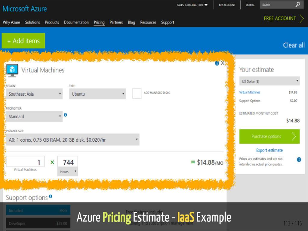 Azure Pricing Estimate - IaaS Example 113 / 116