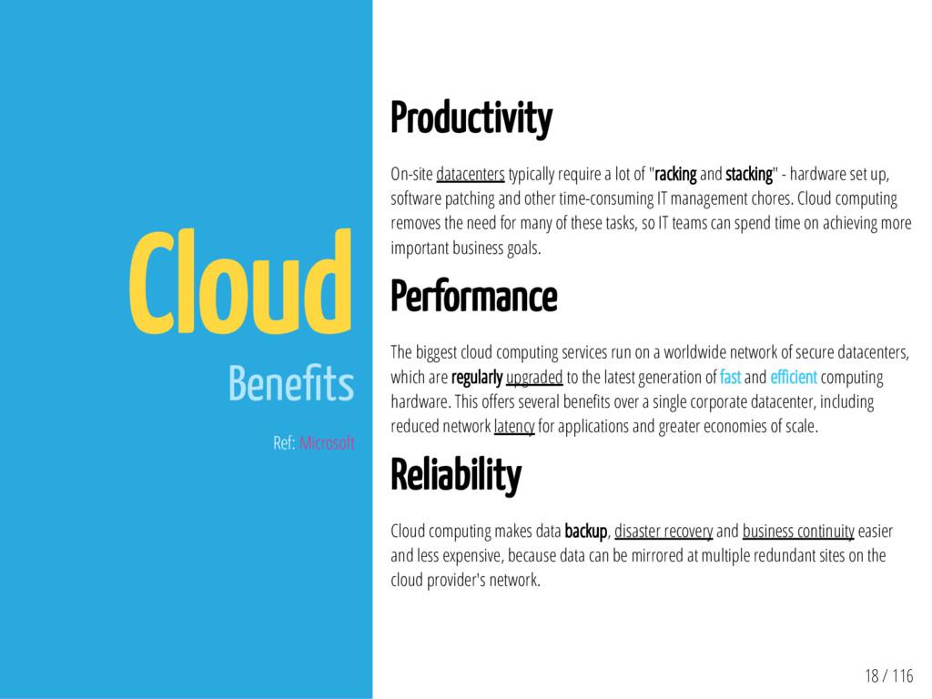 18 / 116 Cloud Bene ts Ref: Microsoft Productiv...