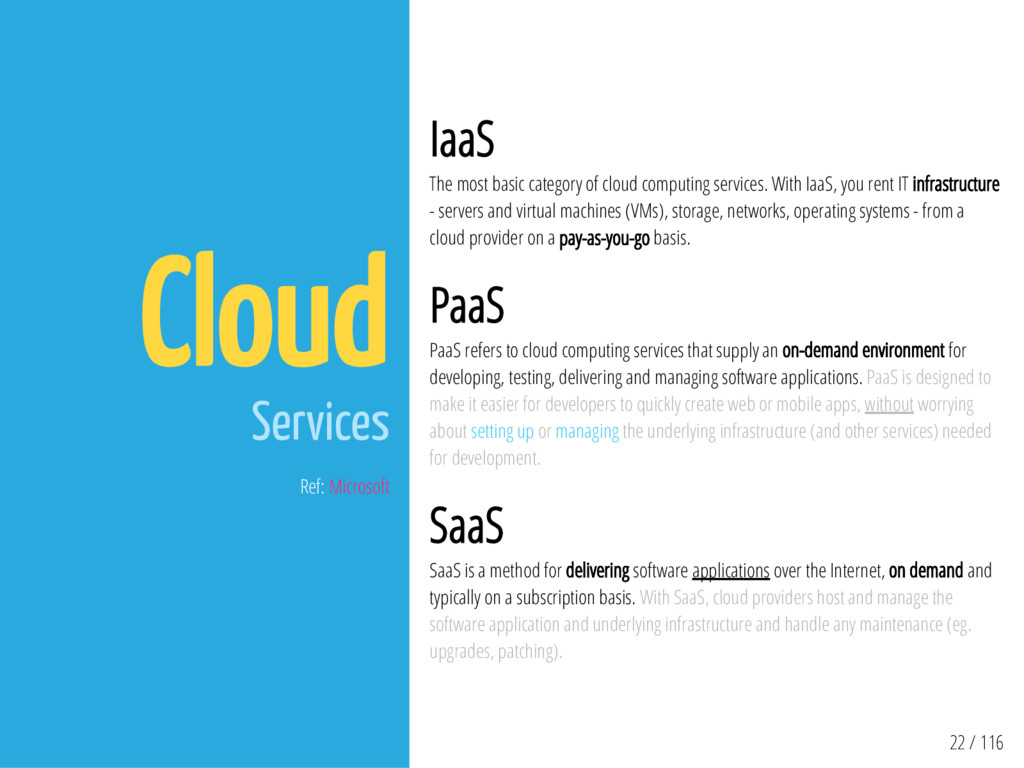 22 / 116 Cloud Services Ref: Microsoft IaaS The...