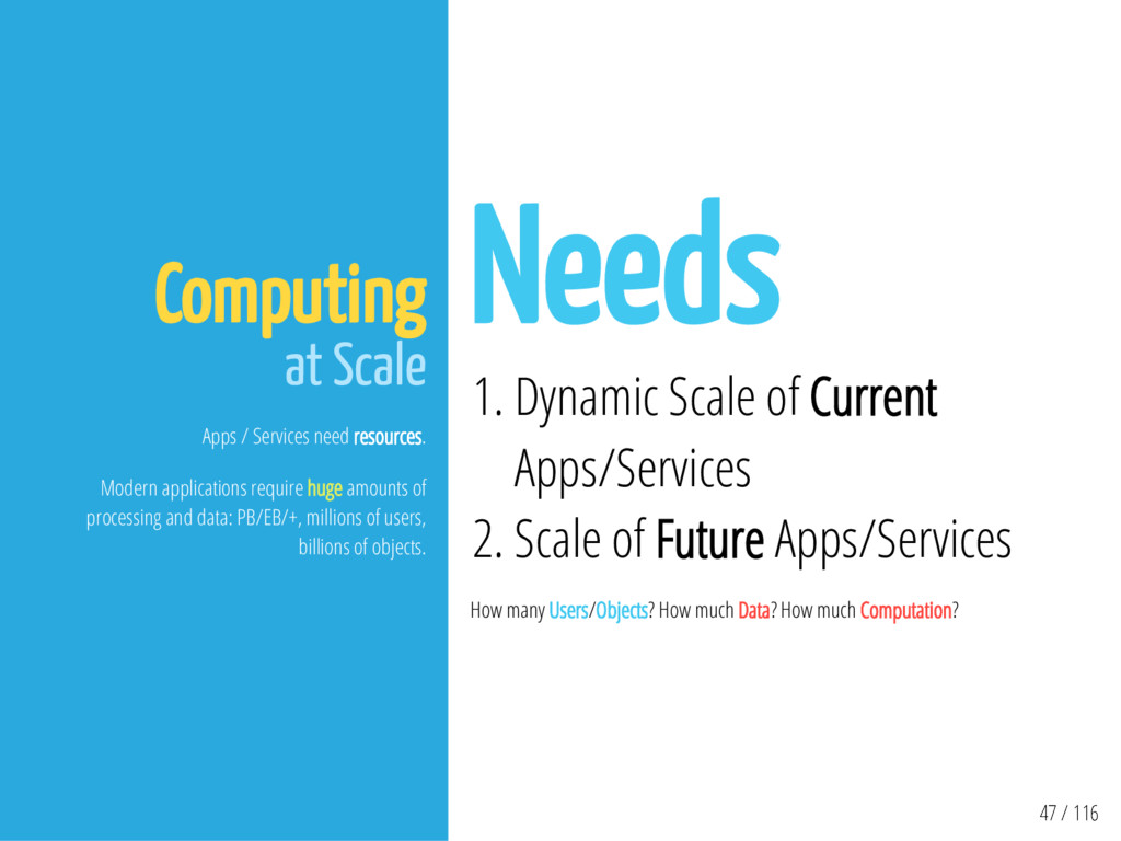 47 / 116 Computing at Scale Apps / Services nee...